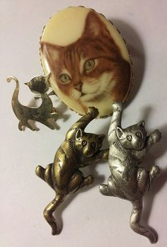 KITTY BROOCH LOT SOME SIGNED