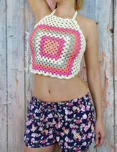 Abuelita Cuadrado Halter Top Free Pattern |  Cosas hermosas Crochet