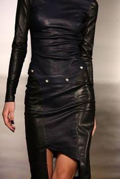 #black #leather #dress