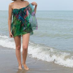 20 OFF SALE Elegant Hand Painted Silk Chiffon Scarf by LigaKandele