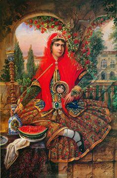Iran Politics Club: Hojatollah Shakiba - Part Persian Colonial Miniatures… Persian Princess, Iran Pictures, Arabian Art, Ancient Persian, Art Optical, Persian Culture, Turkish Art, Decoupage, Portrait
