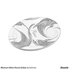 Abstract Silver Pisces Zodiac Paper Plate