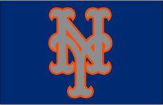 New York Mets Cap Logo (2015) - Silver NY outlined in orange on blue, worn on New York Mets road alternate caps beginning in 2015 season