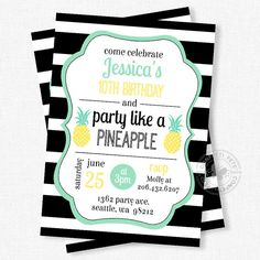 Pineapple Birthday Invitation, Party Like A Pineapple Invitation, Pineapple Invitation, Black and White Stripe, Mint and Yellow
