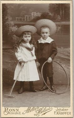 Young Boy And Girl In Sailor Suits With big Straw Hats With Hoop Toys CDV