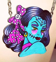 zombie pin up girl necklace