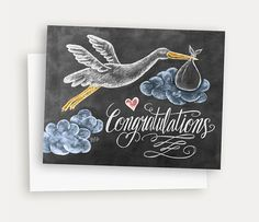 New Baby Card - New Baby Congratulations Card - Illustrated Stork Card - Hand Lettering and Illustrations