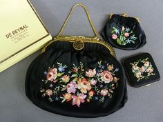 French 1920's 3 piece Embroidered Purse, Coin Purse and Compact Set