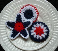 Patriotic Trio of Crochet Nylon Srubbies by HookedonArtsNCrafts