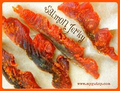Salmon Jerky. Gluten free, low carb. High protein. Oven directions and dehydrator.