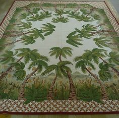8u0027x10u0027 Handmade Palm Trees Wool Needlepoint Rug~New~Free Shipping Worldwide
