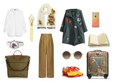 """""""airport"""" by susibonvi ❤ liked on Polyvore featuring Longchamp, Gucci, TIBI, The Row, WithChic, Tory Burch, Dolce&Gabbana, Forever 21, The Merchant Of Venice and Linda Farrow"""
