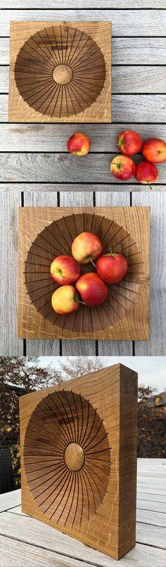 Oak wood fruit bowl designed by studio a. Bowl Designs, Ash, Fruit, Studio, Detail, Wood, Interior Architecture, Madeira, Woodwind Instrument