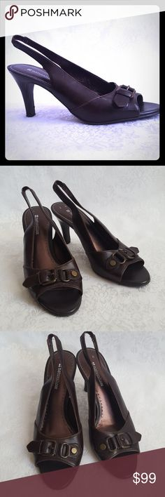 "🔥DISC SHIP🔥Naturalizer Leather Slingback Heels Naturalizer brown leather open toe slingback pumps with 3 1/2""heels. Top strap with decorative buckle detailing. Style is  ""ELSIE"".  Excellent used condition. Smoke free and pet free home.  Check out my other listings - 100's of 👠shoes👠, 👢boots👢 and 👜bags👜. Bundle 2 or more and save money!💲💰💲 (81712) Naturalizer Shoes Heels"