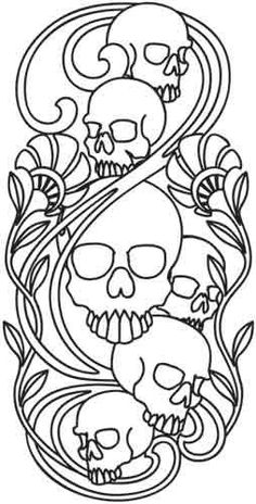 Embroidery Designs at Urban Threads - Skulls Nouveau. Another skull design for my October wall hanging. Embroidery Designs, Paper Embroidery, Machine Embroidery, Skull Coloring Pages, Colouring Pages, Coloring Books, Urban Threads, Leather Tooling Patterns, Leather Pattern