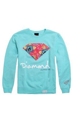 Diamond Supply Co Floral Script Crew Fleece #pacsun