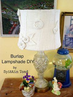 Spittin Toad: Burlap Lamp Shade DIY the rolled burlap flowers, could use a row on edge