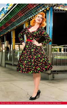 Pinup Couture- Long Sleeve Heidi Dress in Black Cherry Print | Pinup Girl Clothing
