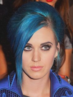 katy perry, pictures, face, blue, hair,