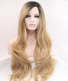 Sylvia Synthetic Wigs Heat Resistant Lace Front Wig For Women Wigs Hair Highlight Blonde Color Middle Part Hair Long Body Wave Discounts Price Hair Extensions & Wigs Synthetic None-lacewigs