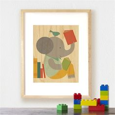 Framed Reading Elephant Art Print on Wood - for Jude's reading nook?