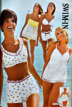 Lingerie early 1968 fashion from Sears. Kathy McKay, Lucy Angle, unknown model and Cay Sanderson. 60s And 70s Fashion, 60 Fashion, Retro Fashion, Vintage Fashion, Vintage Outfits, 70s Mode, Retro Bathing Suits, Vintage Swimsuits, Retro Swimwear