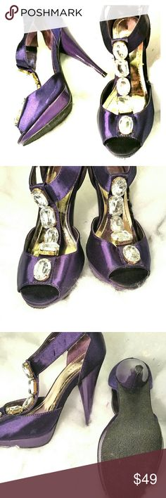"Express 👠 sexy statement 👠 heels Express purple T-strap rhinestone bling sky high 5"" peep-toe heels. Adjustable velcro side closure. Command attention when you enter the room with these gorgeous statement high heels. Express Shoes Heels"