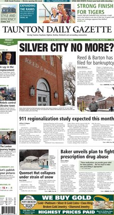 The front page of the Taunton Daily Gazette for Friday, Feb. 20, 2015.