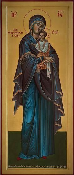 Byzantine Art, Byzantine Icons, Religious Icons, Religious Art, Our Lady Of Rosary, Orthodox Catholic, Archangel Uriel, Greek Icons, Mary And Jesus