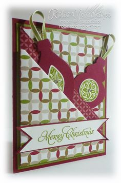 A Quick Diagonal Double Pocket card from Robin's Craft Room. Cherry Cobbler and Old Olive papers and accessories for Christmas Cards! Fancy Fold Cards, Folded Cards, Xmas Cards, Holiday Cards, Beautiful Christmas Cards, Christmas Scrapbook, Marianne Design, Pocket Cards, Card Tutorials