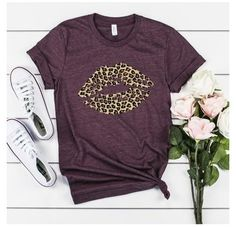 Leopard Lips #bella #canvas #shirt #ideas #bellacanvasshirtideas Vinyl Shirts, Custom Shirts, Boutique Shirts, Leopard Shirt, Tees For Women, Cool T Shirts, Plus Size Outfits, Plus Size Fashion, Shirt Designs