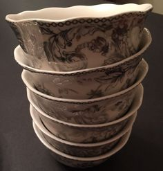 222 Fifth Adelaide E-Silver 6 New Cereal Bowls~FREE SHIPPING! #222Fifth