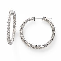 In and Out Diamond Hoops, 1.75 Carat, 14K White Gold