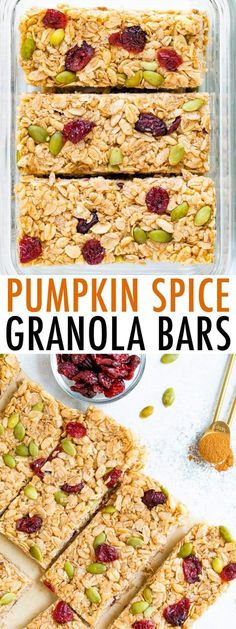 These healthy pumpkin spice granola bars are packed with dried cranberries, pepitas and delicious pumpkin spice flavor! They're crunchy, delicious and perfect for the fall season. #granolabars #healthy #snack #glutenfree #pumpkinspice #breakfast #eatingbirdfood Good Healthy Recipes, Clean Recipes, Whole Food Recipes, Snack Recipes, Vegan Snacks, Healthy Snacks, Healthy Eats, Chia Recipe, Healthy Pumpkin