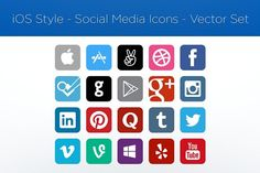iOS Style–Social Media Icons–Vector by garrettgee on @creativemarket