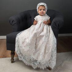 Victoria Puff Sleeve Christening Gown & Bonnet - Girls Christening Gown