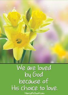 """We are loved by God because of His choice to love. Inspirational #quote by Nancy -   Download a     wonderful Lesson on Christian Living from     Nancy's new #Bible Study on Philippians -     NancyMcGuirk.com"
