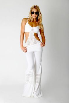 Nightcap- Crochet Beach Pant in White(2)