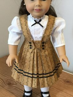 Items similar to Brown toned pleated school days skirt and white blouse, fits American Girl Dolls on Etsy Cute Teen Outfits, Teenage Girl Outfits, Dresses Kids Girl, Doll Dresses, Sewing Doll Clothes, Girl Doll Clothes, Girl Dolls, My American Girl Doll, American Doll Clothes