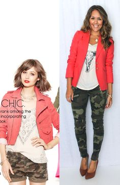Clothes Casual Outift for • teens • movies • girls • women •. summer • fall • spring • winter • outfit ideas • dates • parties Polyvore :) Catalina Christiano Camo skinny jeans, coral blazer