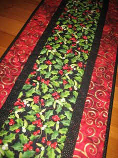 Christmas Table Runner Holly and Red Berries with by TahoeQuilts
