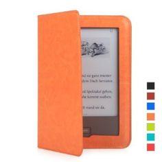 Mulbess Tolino Shine Premium Leder Schutzhülle Hülle Tasche Lederhülle Sleeve Cover für Tolino Shine Farbe Orange