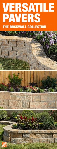 Pavestone's RockWall retaining wall system is durable, easy to install and attractive. No cuts needed, these blocks can be configured in a variety of ways to create different wall aesthetics and projects. Click to learn more about landscaping and shop this collection. Concrete Bags, Home Repair, Home Improvement, House Remodeling