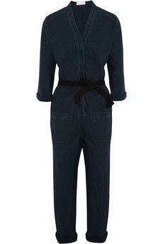 Étoile Isabel Marant Tadia belted cotton-chambray jumpsuit | NET-A-PORTER