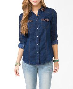 aa62d273a Beaded Denim Shirt | FOREVER21 Classy Women, Classy Lady, Denim Shirt,  Sleeve Styles