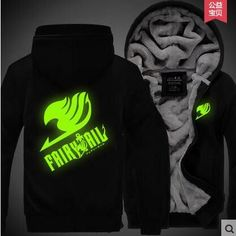 Hot New Fairy Tail Natsu Hoodie Night Lights Guild Logo Winter Fleece Mens Sweatshirts Free Shipping