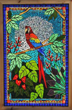 Kathleen Dalrymple - Glass Artist: Large Glass on Glass mosaic window of a parrot