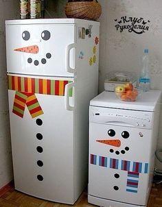 Украшаем холодильник к новому году