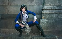 """How would Elizabeth look if you wouldn't have to rescue her? I made this """"Indiana Jones/Amelia Earhart"""" version of her wearing these aviator pants. Meet the Skydiver Liz 4 Casual Cosplay, Cosplay Dress, Cosplay Costumes, Bioshock 1, Bioshock Cosplay, Amazing Cosplay, Best Cosplay, Bioshock Infinite Elizabeth, Elizabeth Cosplay"""