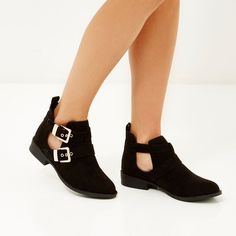 River Island Black nubuck buckle cut out boots (40.375 CRC) ❤ liked on Polyvore featuring shoes, boots, ankle booties, black cut out boots, buckle ankle booties, cut out booties, black cut out ankle booties and buckle booties
